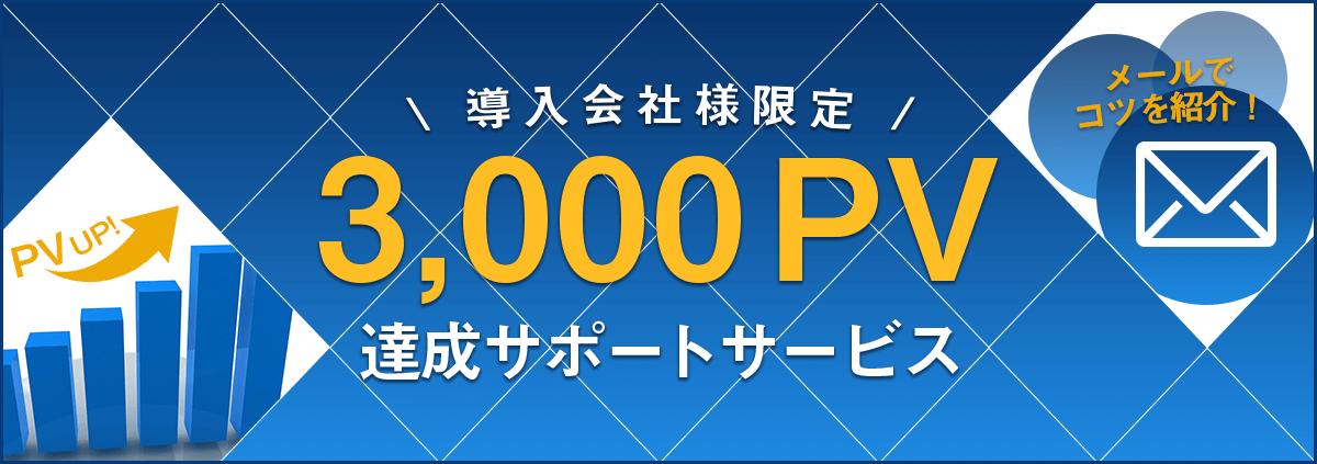 導入会社限定 3,000PV達成サポートサービス開始!
